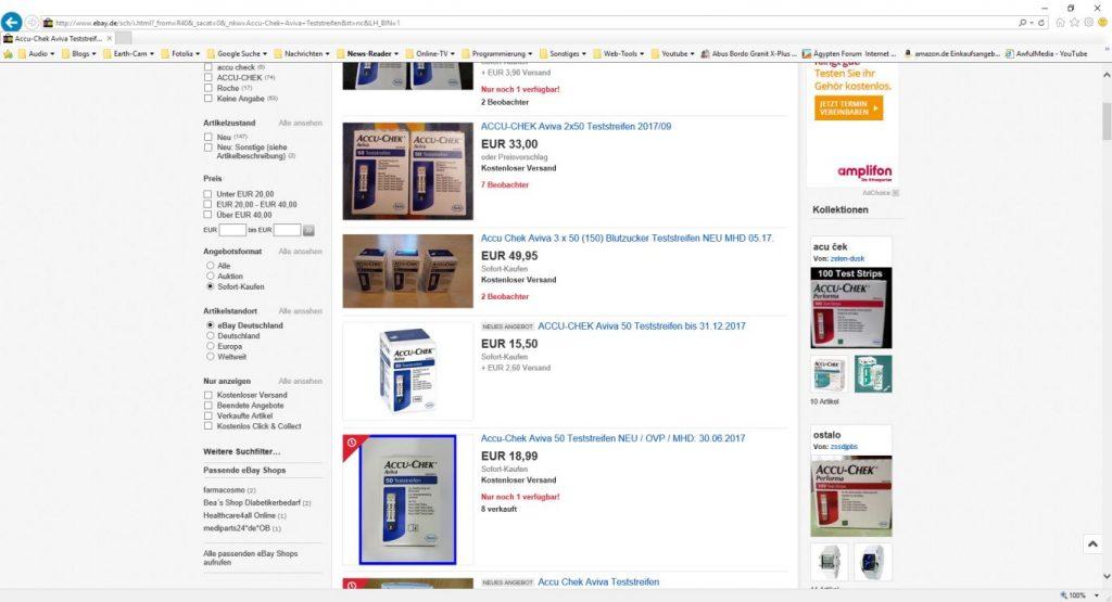 Blutzucker Teststreifen günstig auf ebay kaufen